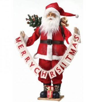 Standing Santa w/ Merry Christmas Banner
