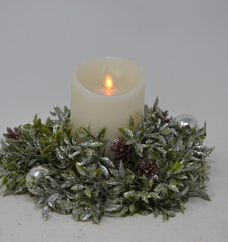 "8"" Shimmer Tea Leaf Candle Ring"