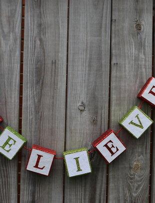 Believe Glitter Block Banner