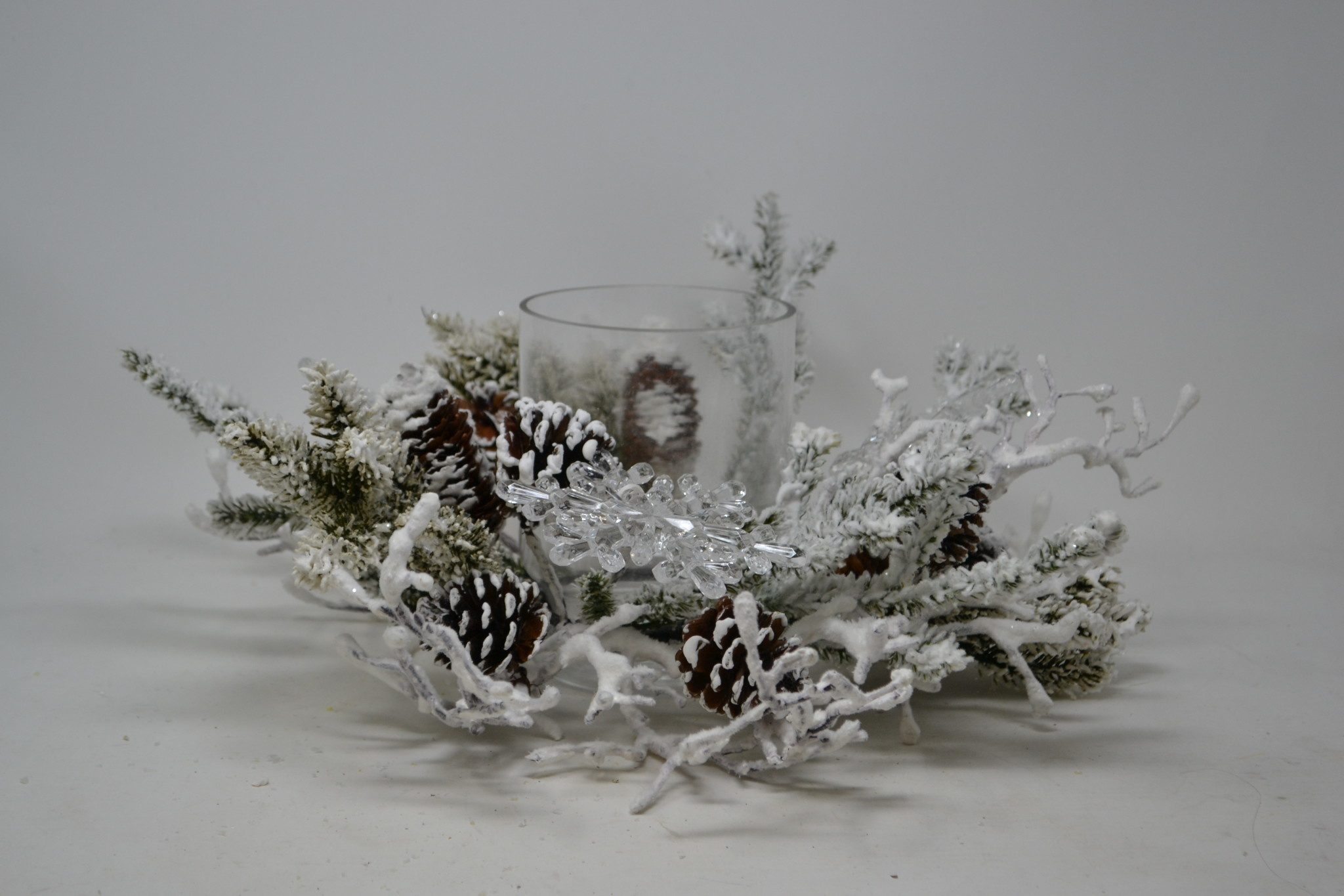 Snowflake Pine Candle Holder