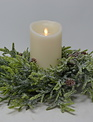 "15"" Frosted Pine Candle Ring"