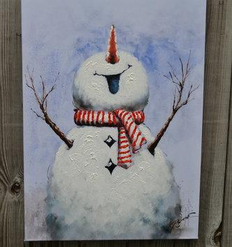 Joyous Snowman Painted Canvas Print