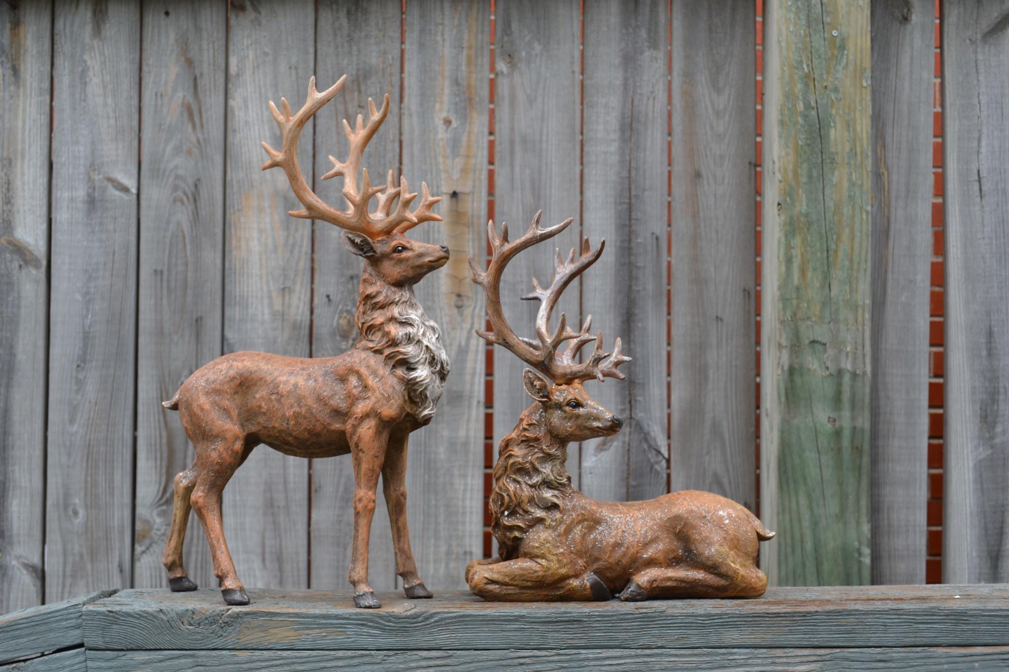 Set of 2 Natural Shimmer Reindeer