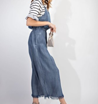 Prewashed Denim Jumpsuit Dark