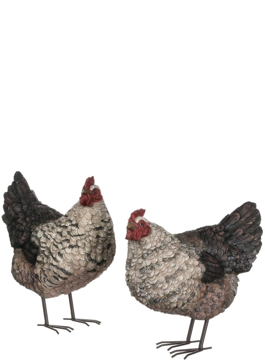 Set of 2 Gray & Black Chickens