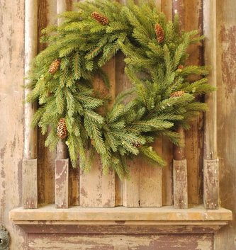 "22"" White Spruce Pine Wreath"