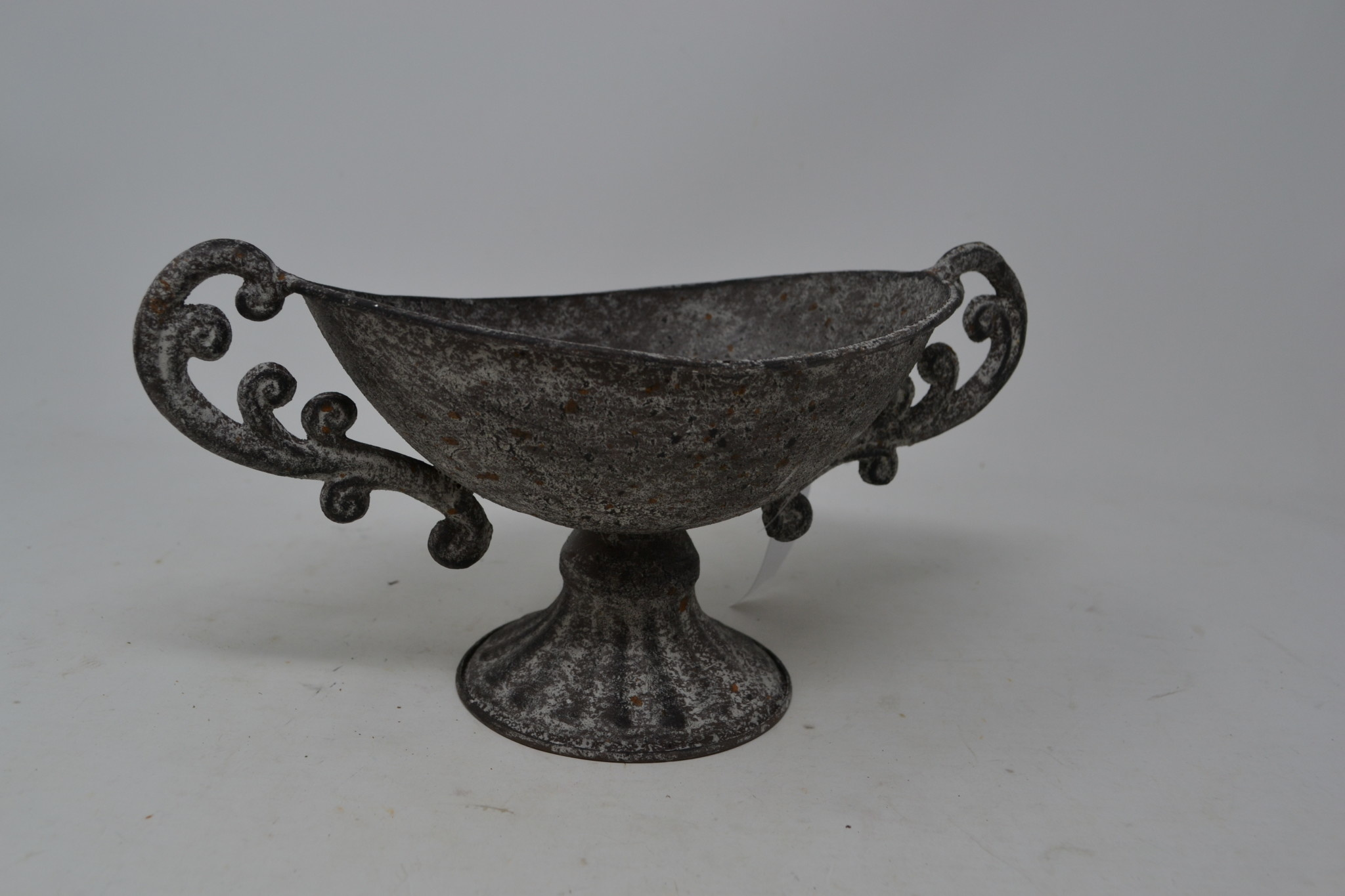 Distressed Gray Handled Compote