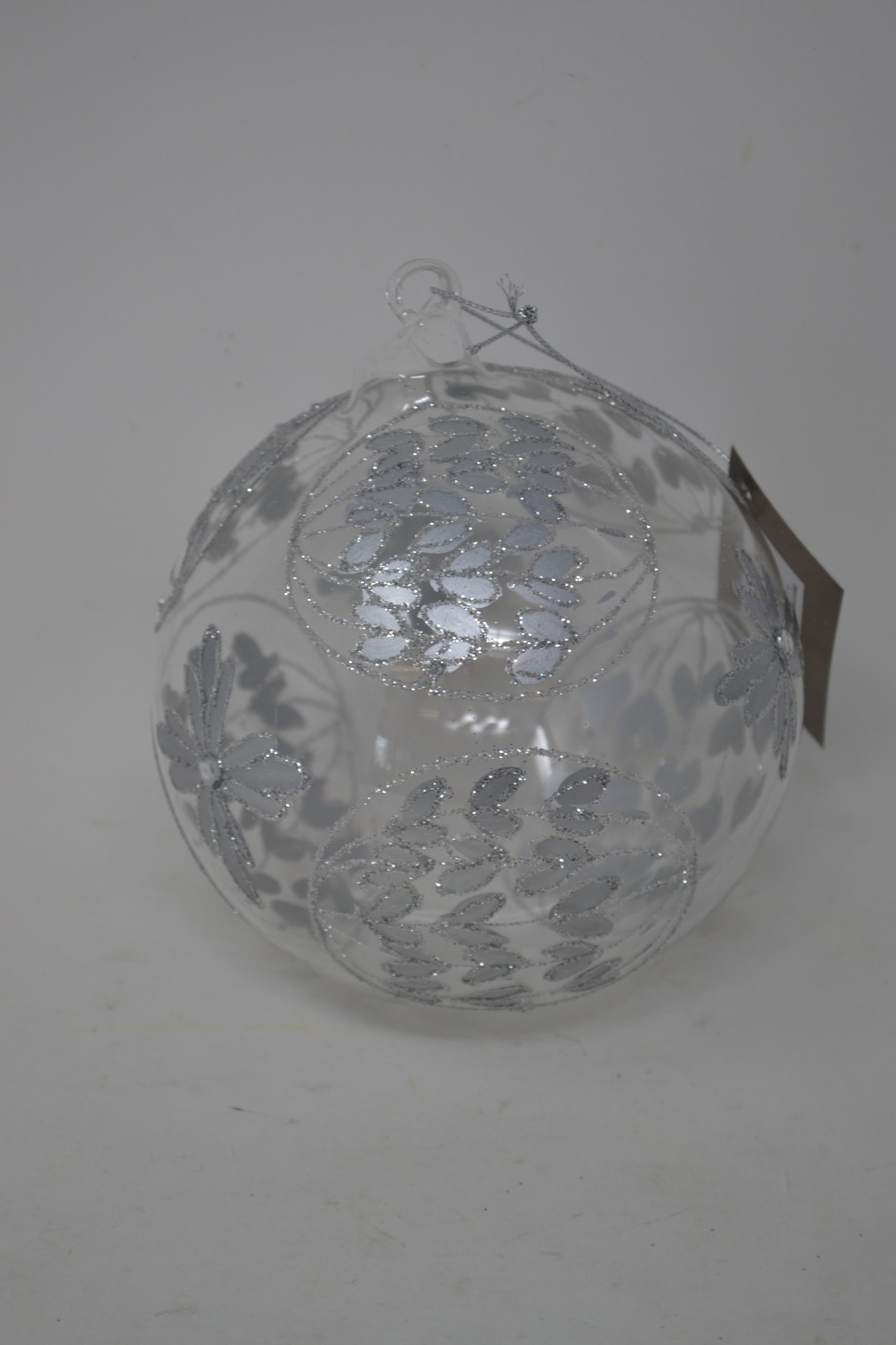 Glass Silver Floral Round Ornament