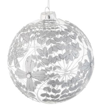Silver Floral Ball Ornament