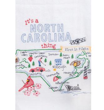 NC Embroidered Tea Towel