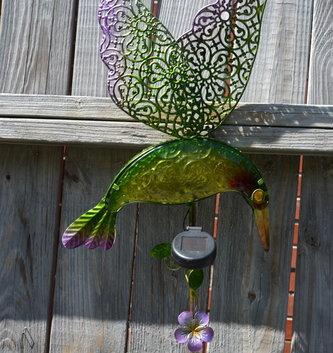 Large Solar Hummingbird Stake