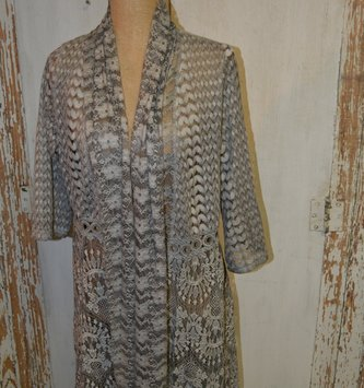 Gray Lace Net Cardigan