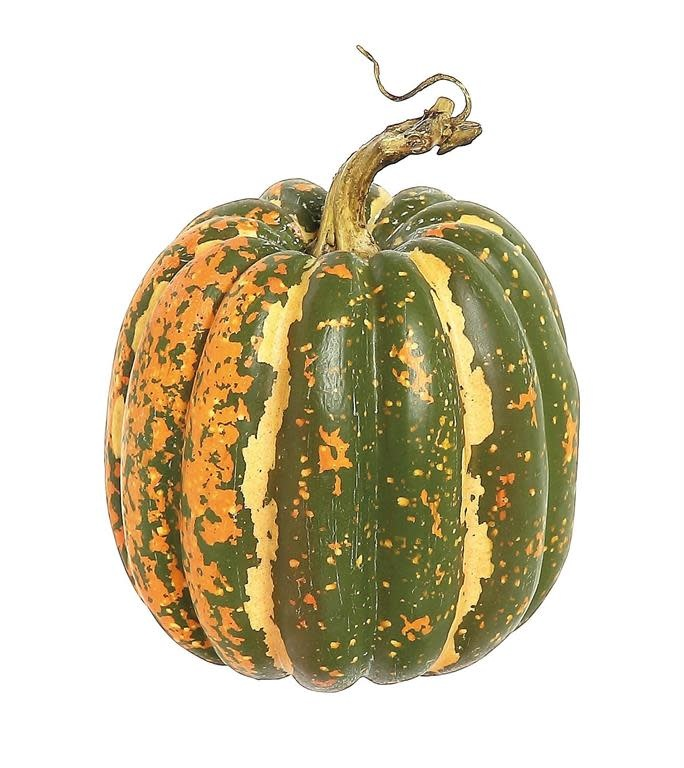 Tall Green Orange Speckled Pumpkin