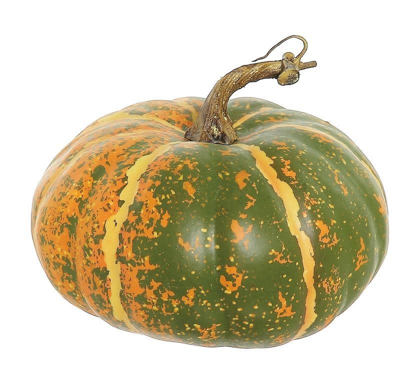 Wide Green Orange Speckled Pumpkin