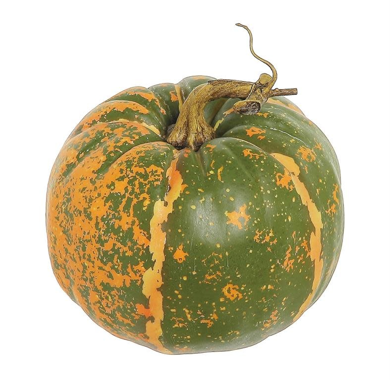 Round Green Orange Speckled Pumpkin