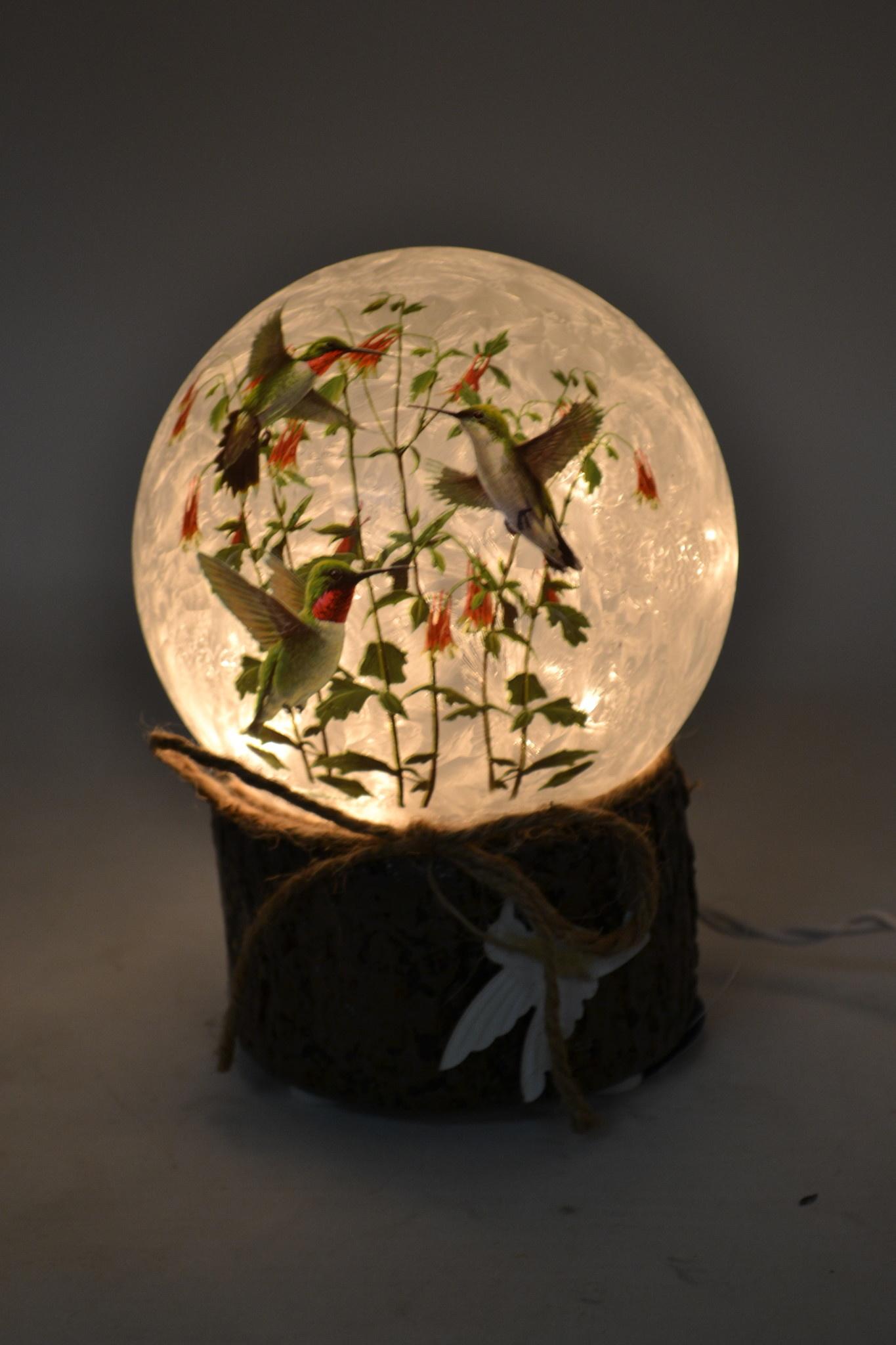 Round Lighted Hummingbird Lamp On Base