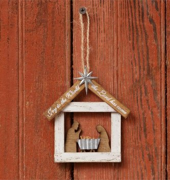Wooden Manger Scene Ornament