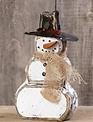 """12"""" Wooden Snowman With Burlap Scarf"""