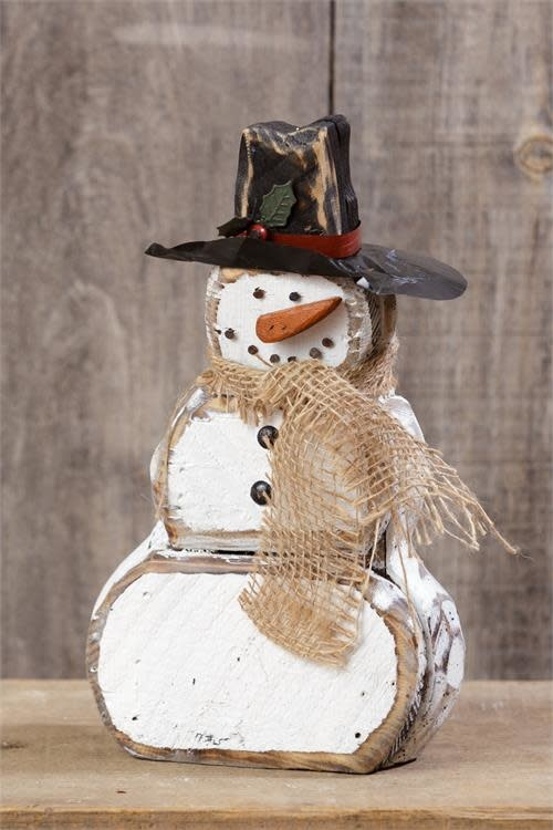 "12"" Wooden Snowman With Burlap Scarf"