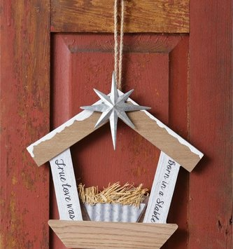 True Love Wooden Stable Ornament