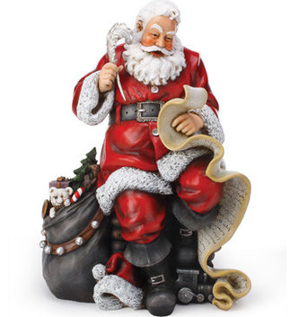 Sitting Santa With List