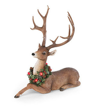 Holiday Deer With LED Wreath