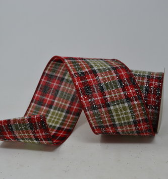 Linen Snowy Plaid Ribbon