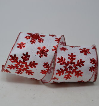 White & Red Snowflake Ribbon