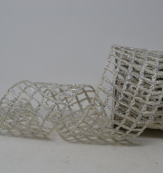 Silver Cream Open Weave Ribbon