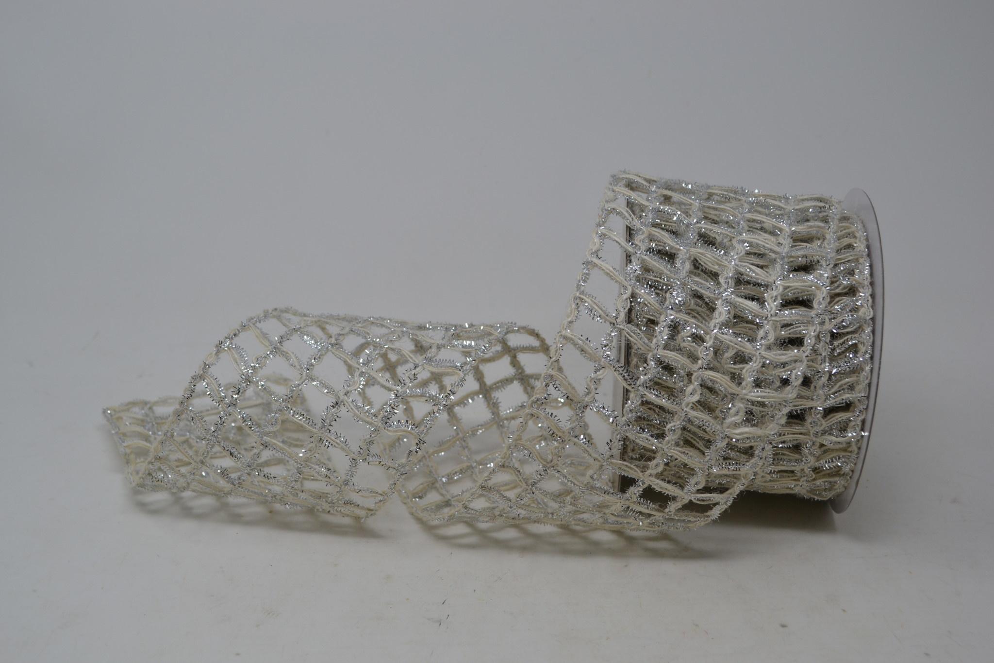 Silver Cream Open Weave Ribbon