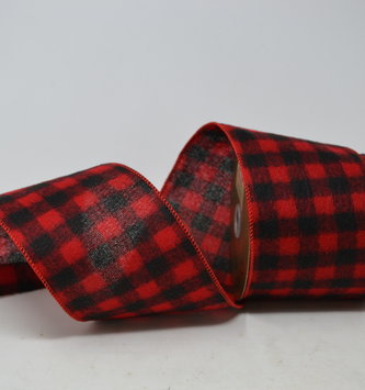 Red and Black Checkered Plaid Ribbon