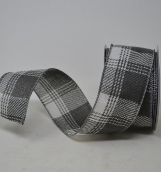 Gray and White Linen Plaid Ribbon
