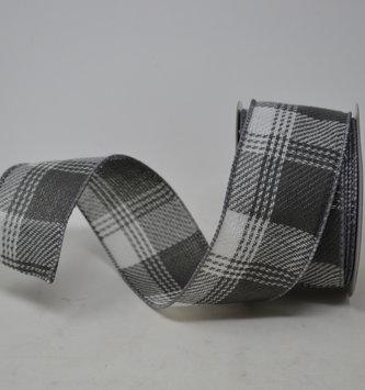 Gray and White Linen Plaid Ribbon