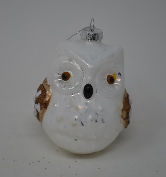 "3.5"" Brushed Glass Owl Ornament"