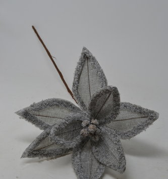 Gray Linen Frost Poinsettia Stem