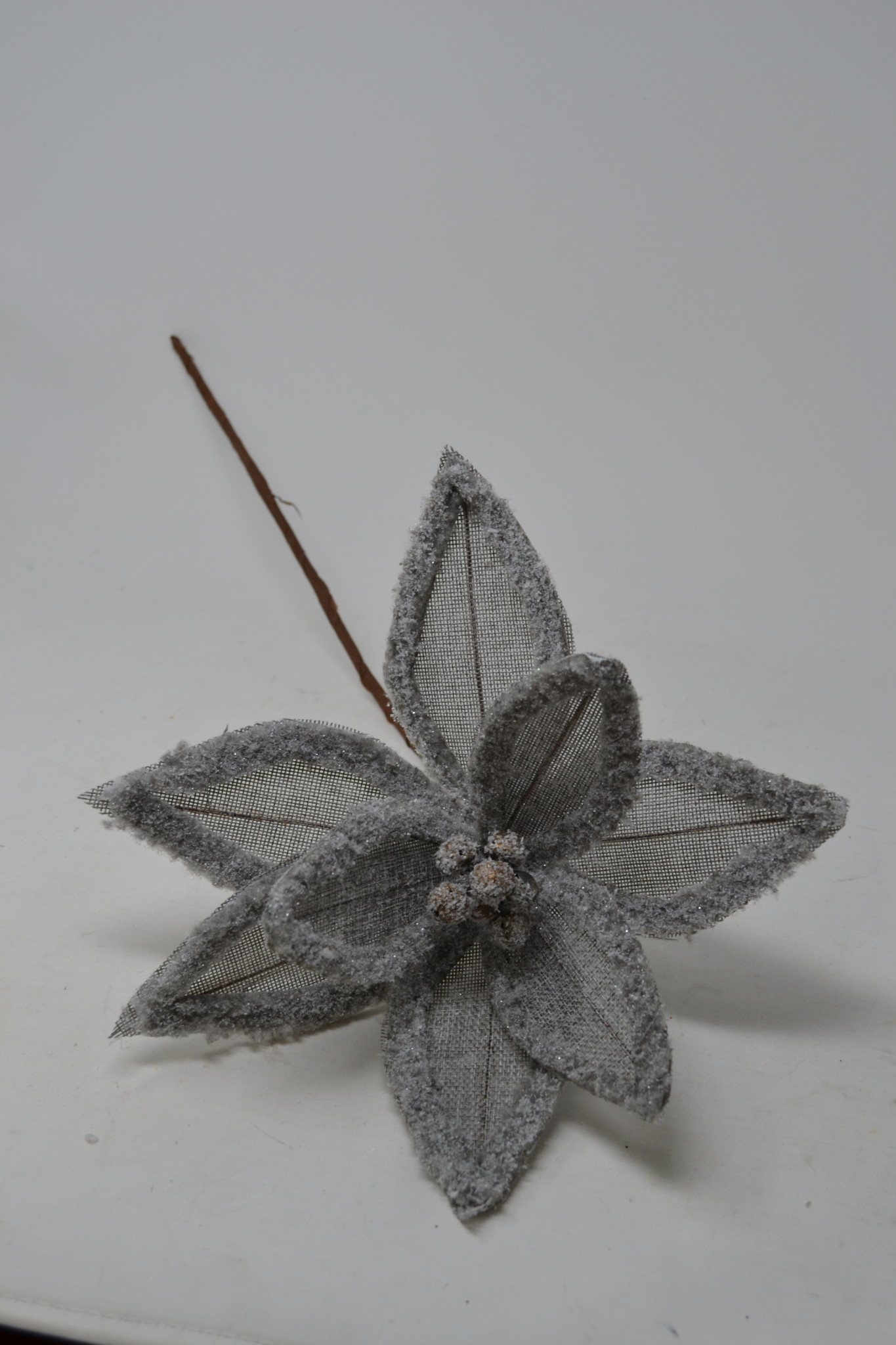 Gray Linen Frost Poinsettia Stem