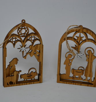 Arched Wooden Nativity Ornament (2 Styles)