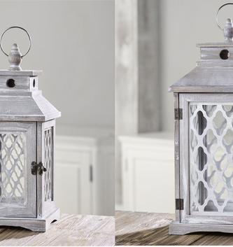 Quarterfoil Wooden Lantern (2 Sizes)