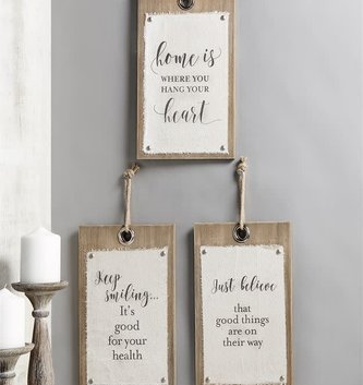 Wood & Canvas Wall Sign (3 Styles)