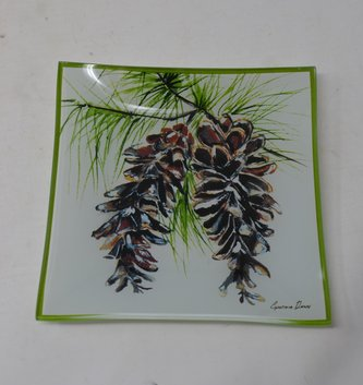 Pinecone Square Candle Saucer