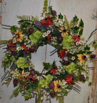 Custom Mini Green Garden Hydrangea Wreath