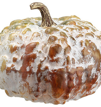"6.5"" Green Brown Lumpy Pumpkin"