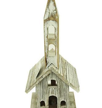 "14.5"" Wooden Whitewashed Church"