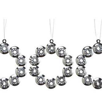 Set of 3 Mini Rhinestone Ring Ornaments