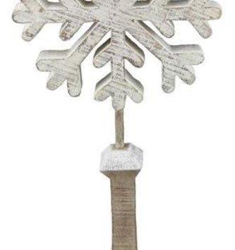 Large Whitewashed Snowflake on Stand