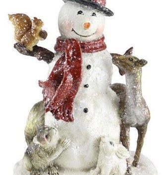 """7.5"""" Shimmer Snowman w/ Animals"""