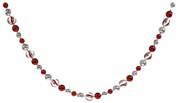 5-ft Red & Silver Peppermint Ball Garland