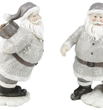 Gray & White Skating Santa (2 Styles)
