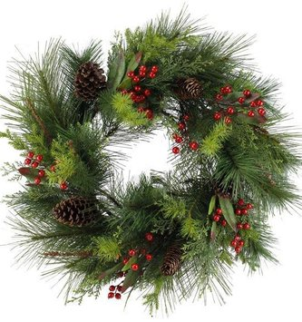 Deluxe Pinecone Cedar Berry Wreath (2 Sizes)