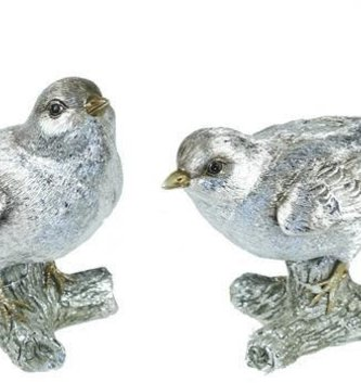 Set of 2 Perched Silver Birds